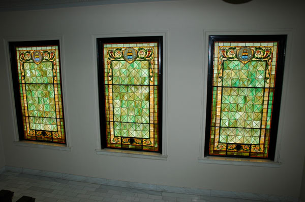 Custom stained                       glass at the Weld County Courthouse